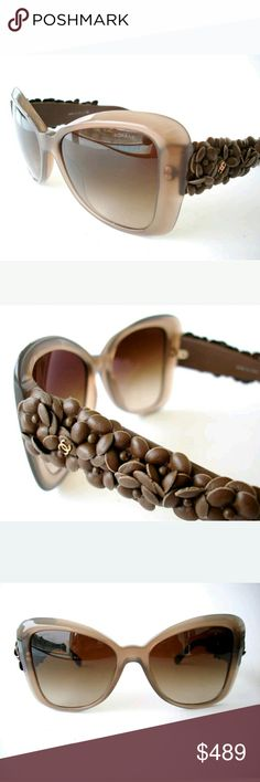 Chanel Sunglasses Excellent condition  Never worn  Brown leather flowers  Case included CHANEL Accessories Sunglasses