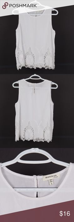 "Monteau LA classic white lace sleeveless tank top Classic white lace tank /  cami/ sleeveless tank top from Monteau Los Angeles - 100% Rayon, hand wash cold -- size large -- measurements: armpit to armpit: 19"" length: 22"" Monteau Tops Tank Tops"
