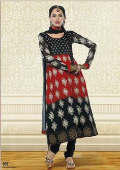 D.no-97  Marvellous Black and Red faux georgette anarkali style churidar kameez with dupatta.Suit is magnified with resham, sequins, velvet work and patch patti border.Elegance come in this beautiful drape.Matching dupatta and bottom is available with this.