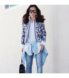 @Who What Wear - Halliedaily is wearing: Zara shirt, J. Crew jacket, Silvano sunglasses.  Get The Look:  J.Crew Collection Flora-Print Cotton And Silk-Blend Jacket ($300)  See more ways to wear floral jackets on Pose.com.