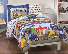 Tractor Trucks Bedding Set - 5pc Construction Set Twin Bed