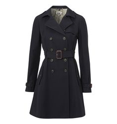 A classic double breasted trench coat in navy.