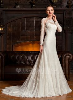 [US$ 372.99] A-Line/Princess Scoop Neck Sweep Train Tulle Lace Wedding Dress