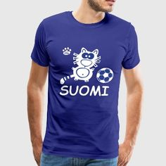 Suomi Finland Soccer Euro World Cup Cat Cats Cute - Men's Premium T-Shirt