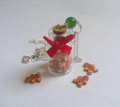 Gingerbread Men Bottle Necklace Pendant - Miniature Food Jewelry. £11.99, via Etsy.