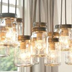 DIY mason jar pendant lights. Love this idea for a country chic wedding.