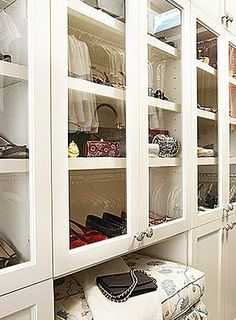 A close up of closet organization.  I like the niche for the stool.  BWE   From 4.bp.blogspot.com