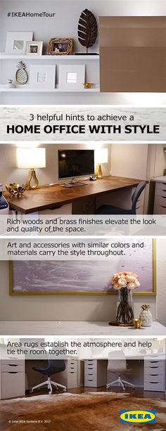 Three helpful hints to achieve a home office with style. Rich woods and brass finishes elevate the look and quality of your space, while art and accessories with similar colors and materials help carry the style throughout. Pull the room together and establish the atmosphere with help from an area rug.