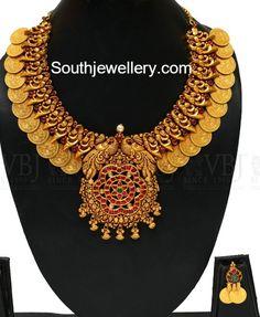 Peacock Lakshmi Kasu Necklace, kasu necklace models, spinel necklace