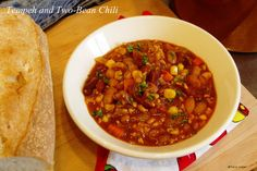 Tempeh and Two-Bean Chili, hot and hearty, ready for a date with cornbread.