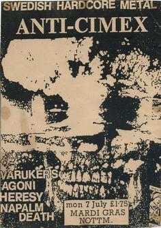 Anti-Cimex Varukers Agoni Heresy Napalm Death 07.07.1986 Nottingham UK