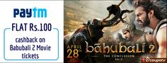 Get flat Rs.100 #cashback on #Bahubali2tickets only with #Paytm #paytmkaro Book here: http://ziplr.in/kRZmHO  #Bahubali2 #BahubaliTheConclusion #movies #entertainment