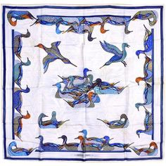 Magnificent Hermes Mallard (Ducks) Silk Scarf | From a collection of rare vintage scarves at https://www.1stdibs.com/fashion/accessories/scarves/