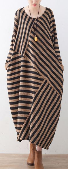 $62.00-khaki striped sweater dress oversized o neck patchwork winter dresses1