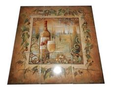 Villa Tuscan - Tile Mural Our decorative tiles with wine are perfect to use for your kitchen splash-back tile project. A wine tile mural adds elegance and interest to your kitchen wall tile area and makes a wonderful kitchen backsplash idea. Pictures of wine on tiles and images of wines bottles on tiles and wine glasses on tiles is timeless and these decorative tiles of wine blend with any decor. Your kitchen will come to life with a tile mural featuring wine.