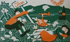 """English Picnic"" by Claude Flight and Edith Lawrence (linocut)"