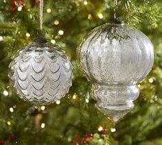 Oversized Silver Mercury Glass Ornaments #potterybarn