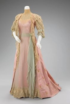 Tea gowns were constructed in several segments, sometimes allowing the hostess to change from the lingerie-inspired overtops to the more revealing off-the-shoulder, lower cut silhouette for the evening hours.  Fabrics ranged from elaborate, with fanciful hand work of embroidery, beading, and smocking, to the delicate white and pastel handkerchief linens accented with ribbons and laces.