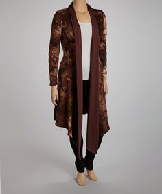 Take a look at this Brown Roses Tie Neck Open Cardigan - Plus by CANARI on #zulily today!