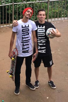 Adonias Fonseca (Brazil Freestyle Footballer 2016) and Jules Von Chacha, French Skateboarding Champion wearing Attiitude T-shirts — with Jerry Mangar.