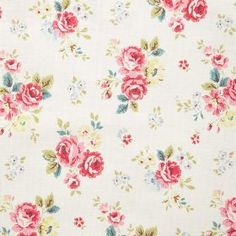 Field Rose Cotton Duck - Stone - Cotton fabric with light beige background with field rose pattern