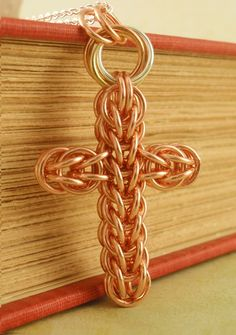 Copper Chainmaille Cross Necklace. $30.00, via Etsy.