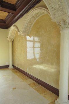 Highly polished, venetian plaster on SplatPaint Stucco Paint, Stucco Walls, Venetian Plaster Walls, Mural Wall Art, Murals, Polished Plaster, Marble Painting, Tadelakt, Wall Finishes