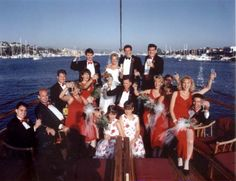 The bride, bridesmaids, groom, groomsman and ring bearers posed for this great shot overlooking Newport Harbor aboard one of our luxury yachts. Boat Wedding, Yacht Wedding, Wedding Tags, Wedding Ideas, Newport Beach, Newport Harbor, Charter Boat, Luxury Yachts, Great Shots