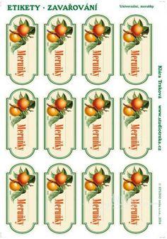 Samolepicí etikety, zavařování meruňky Free Printables, Diy Projects, Cooking, Prints, Handmade, Food, Decor, Kitchen, Hand Made