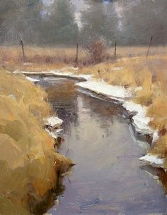 Outlet by Marc Hanson Oil ~ 14 x 11  i love the edge reflections