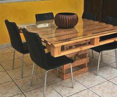 There are different pallet table plans for your living and drawing rooms. You can make the pallet tables with the planks of wood available in your home or you Wood Pallet Tables, Pallet Dining Table, Palet Table, Bed Table, Chair Bed, Crate Table, Pallet Chair, Pallet Patio, Pallet Furniture Designs