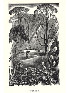 """Think the thaw has set in, thankfully.  The last day I hope of this level of bleakness.  Wood engraving by Agnes Miller Parker.  From """"Honey Pots and Brandy Bottles"""", 1954."""
