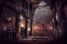 Viking Hall by Nele-Diel on DeviantArt Vikings, Fantasy Art Landscapes, Fantasy Landscape, Fantasy Castle, Medieval Fantasy, Viking Hall, Mead Hall, Viking House, Viking Village