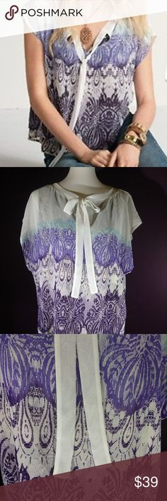 Beautiful Vintage cabi Spring 2013 Posh Top EUC ♥ Beautiful vintage cabi Spring 2013 - Posh Top #238 ♥ EUC, worn once! Love the contrasting colors! Posh top is so detailed with 2 tier layers with different patterns and feminine tie neck line. This flowy lightweight top will add happy to any day! Dress up or down! Hard to come by size ♥  Fabric: 100% Polyester   Garment Care: Machine wash cold - tumble to dry   ♥ Please visit my closet again soon - lots of excellent deals on minty condition…