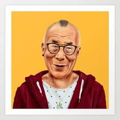 Hipstory -  Dalai Lama Art Print by Amit Shimoni. Worldwide shipping available at Society6.com. Just one of millions of high quality products available.