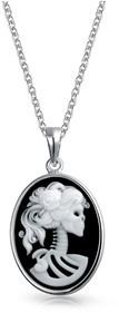 Bling Jewelry Simulated Onyx Resin Lolita Skeleton Cameo Pendant Sterling Silver Necklace 18 Inches.