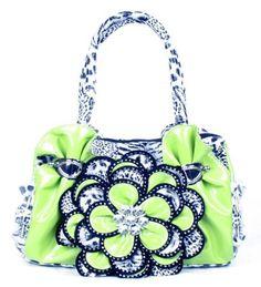 Lime Green Leopard Crystal Leaf Rhinestone Flower Fashion Handbag - Handbags, Bling & More!