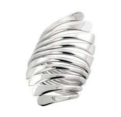Sterling silver handmade freeform wire wrap ring. hand picked club