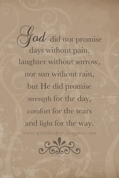 All the Promises of God | God did not promise days without pain, laughter without sorrow, nor ...