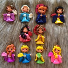 Set of Princesses clay - Kimono version- charm bead- scrapbooking- pendant- embelishment bow center