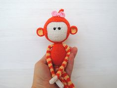 Personalized kids doll Toddler gift Cute Monkey girl Stuffed animal Amigurumi Knitted soft toys Pre teen gift ideas Baby gift 2016 symbol