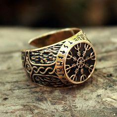 Timón bronce de asombro Aegishjalmur Futhark vikingo pentagrama mágico amuleto rúnico ajustable tamaño anillo