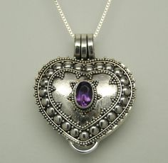 PURPLE AMETHYST CREMATION JEWELRY STERLING SILVER HEART URN NECKLACE MEMORIAL