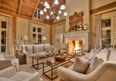 Living room. Neutral Living room. Neutral French Country living room with linen sofas and neutral paint color. #Livingroom #NeutralLivingroom Sotheby's Homes Canada.