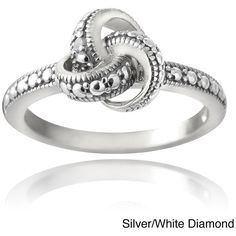 DB Designs Sterling Silver Diamond Accent Love Knot Promise Ring (37 CAD) ❤ liked on Polyvore featuring jewelry, rings, white ring, love knot ring, love knot jewelry, white jewelry and sterling silver jewellery