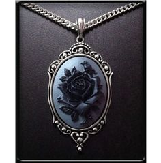Charcoal Rose Cameo Necklace
