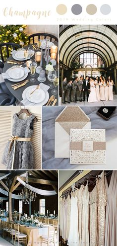 Top 10 Wedding Color Trends We Expect to See in 2019 (parte-.- Top 10 Wedding Color Trends We Expect to See in 2019 (parte-one) mismatched sequin champagne gold and grey luxury wedding color inspiration - Gold Wedding Colors, Gold Wedding Theme, Star Wedding, Glitter Wedding, Wedding Color Schemes, Dream Wedding, Wedding Ideas, Trendy Wedding, Gold Glitter