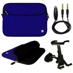 VG Brand Lushly Neoprene Zipper Sleeve Cover for Samsung Galaxy Tab 3 10.1 Car Travel Bundle