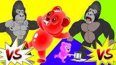 Finger Family Collection| Mega Gummy Bear Vs Gorilla Finger Family|Jelly...