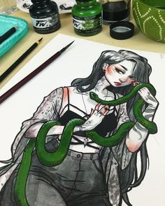 Inktober day 4: Snake Charmer✨ I had so much fun drawing this one, currently editing the process video!!! I will definitely be making prints of her! how's everyone's inktober going?  Materials: kuretake menso brush, speedball 512 nib, daler rowney black and green ink, prismacolor colored pencil, fabriano watercolor paper. . #inktober #inktober2016 #illustration #jacquelindeleon #artistsoninstagram #witch #snake #snakecharmer #comicart #characterdesign
